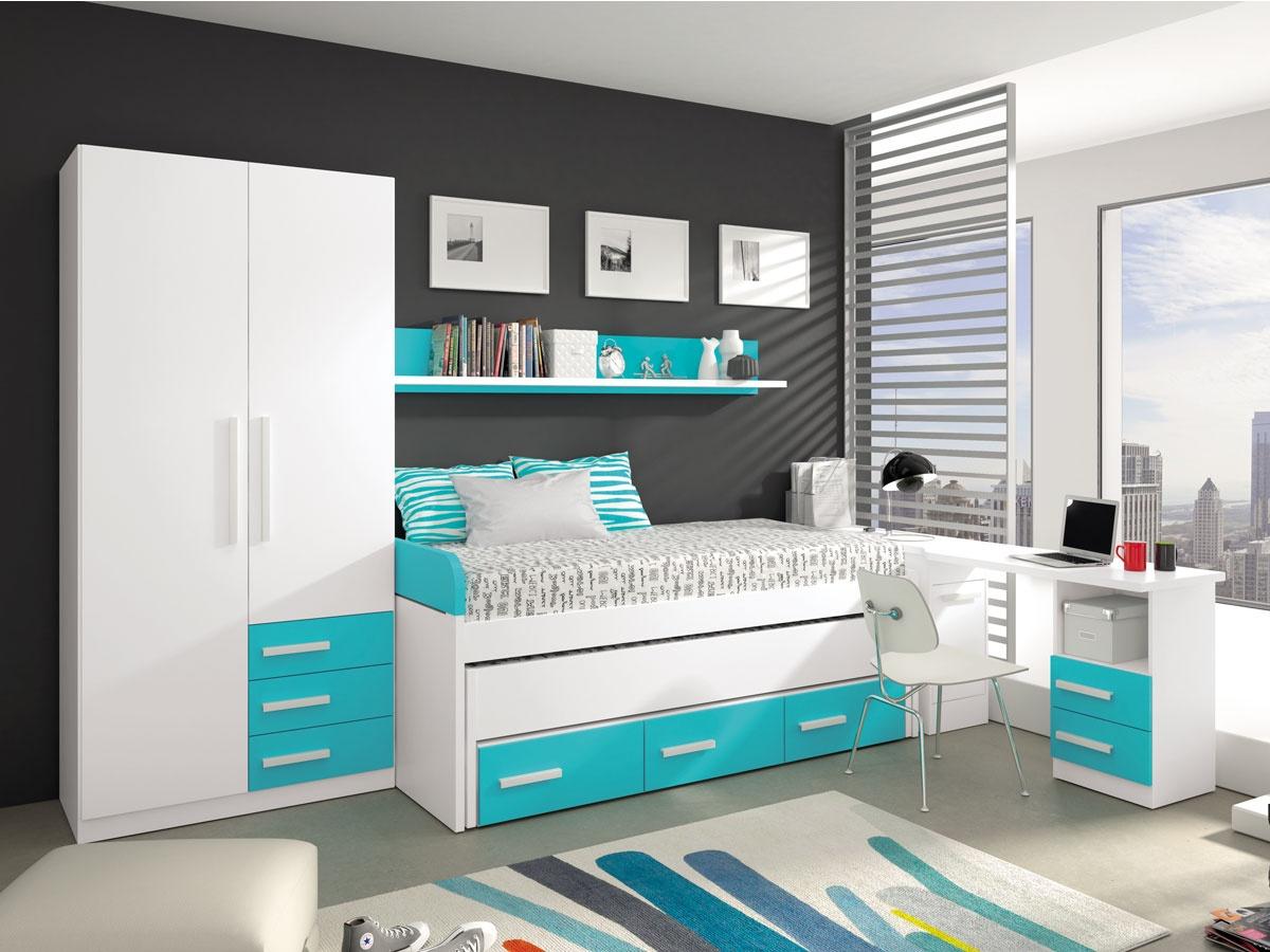 Dormitorio juvenil con arc n zapatero habitaci n completa y armario - Habitaciones juveniles muebles tuco ...