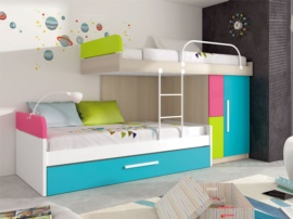 Tren multicolor para 3 camas