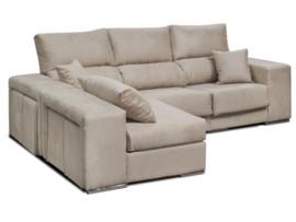Sofá chaise-longue con 4 pouffs y arcón