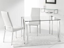 Mesa de cristal con patas cromadas