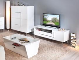 Mueble para tv de salón en blanco alto brillo