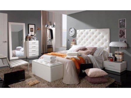 Cabecero de cama tapizado polipiel capiton y dise o de rombos - Cabecero cama acolchado ...