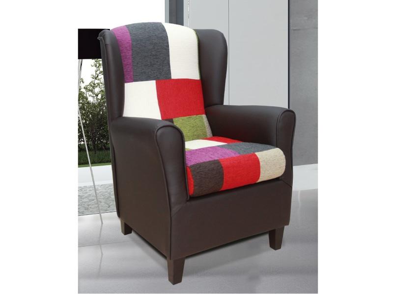 Butaca orejera patchwork sill n tapizado multicolor de dise o for Sillones salon diseno