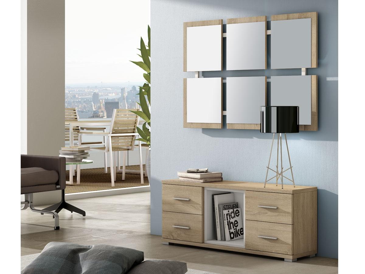 Mueble de entrada con espejo for Mueble entrada