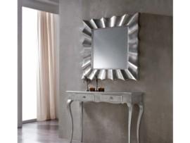 Espejo vintage con marco plateado
