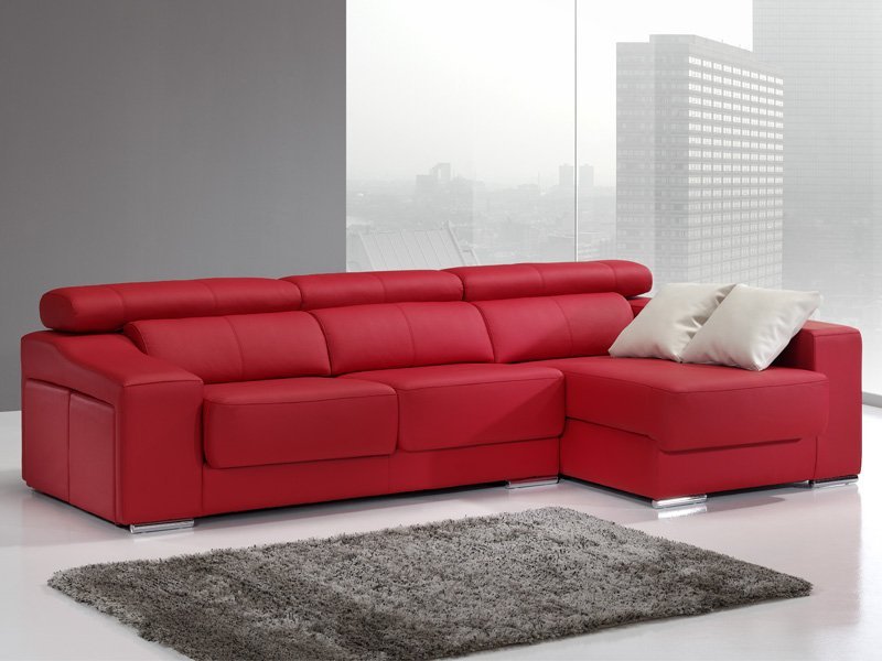 Sof chaise longue de pouffs laterales sof de dise o actual for Sofas de piel con chaise longue