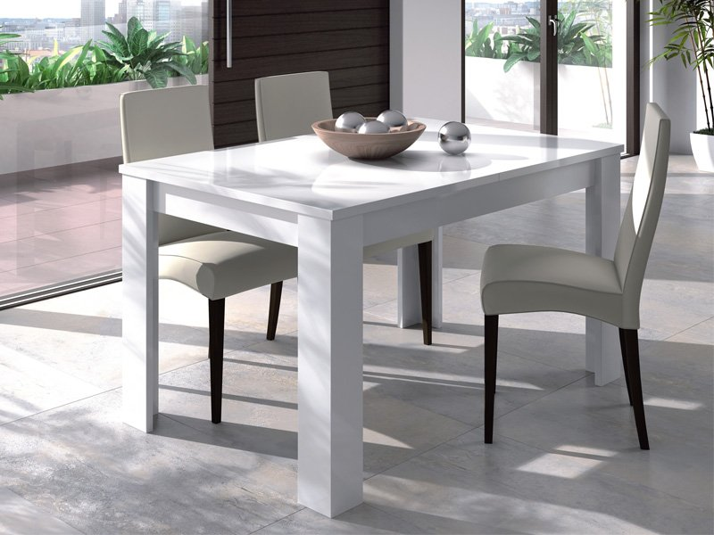 Mesa de sal n extensible blanco con apertura central 165 x - Amazon muebles de comedor ...