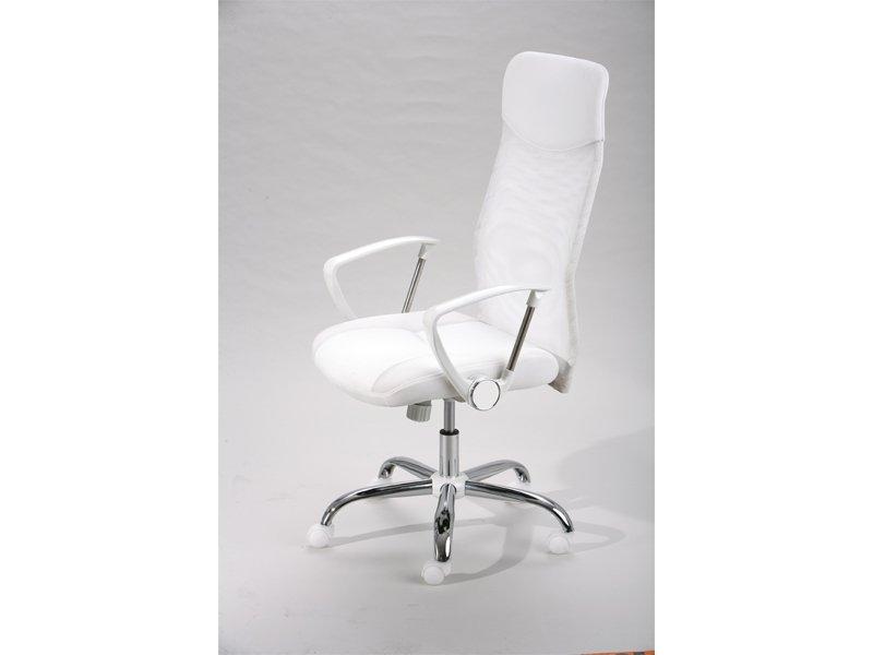 Sillón de oficina ergonómico, sillón tapizado en color blanco