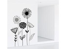 Vinilo floral en negro y gris