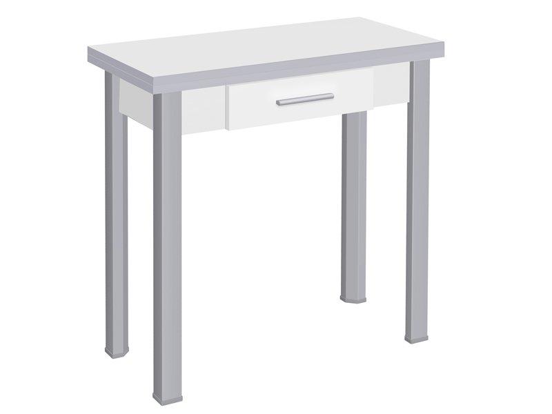 Mesa para cocina con cajón frontal y de formato extensible tipo libro
