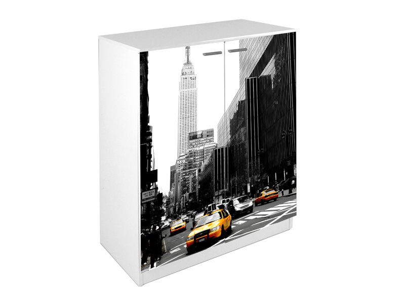 Mueble zapatero con dise o de new york city en las puertas - Meuble chaussure new york ...