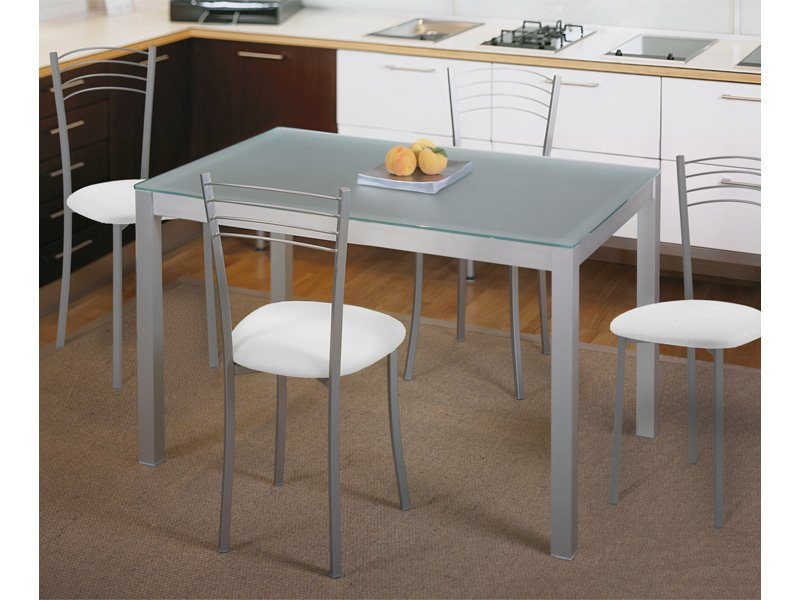 Mesa fija de cocina metálica de aluminio y cristal traslúcido