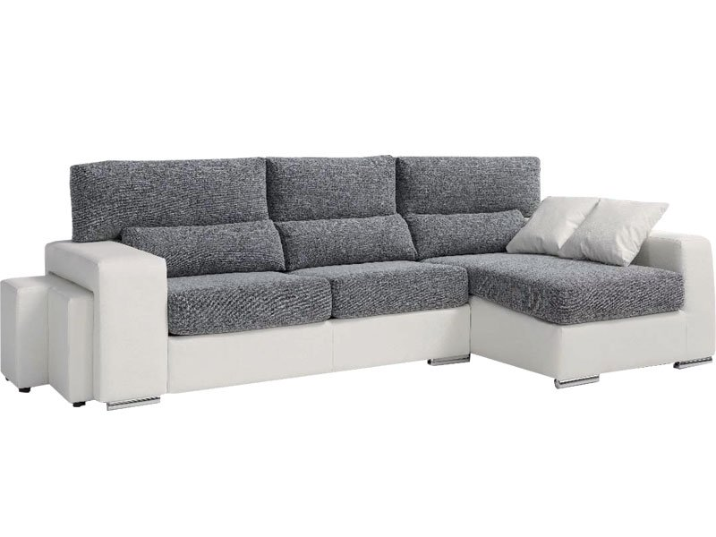 Sofá chaise longue con 2 puffs reclinable y asientos extrables