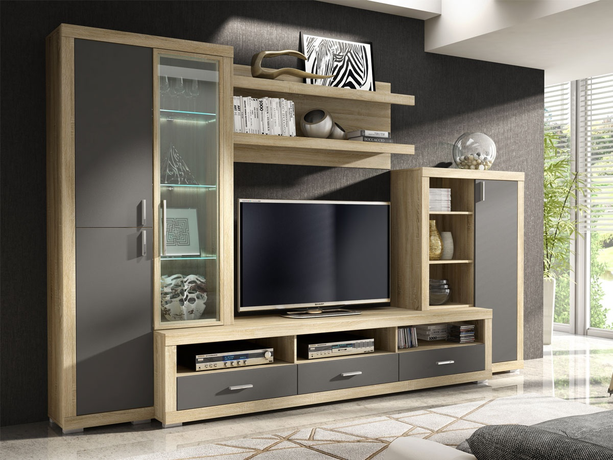 Mueble modular con vitrina lateral cajones y estantes for Muebles modulares modernos para tv