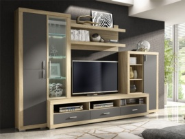 Mueble modular con vitrina lateral