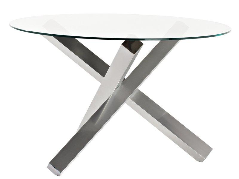 Mesa de diseño para comedor vanguardista con pie de patas cruzadas