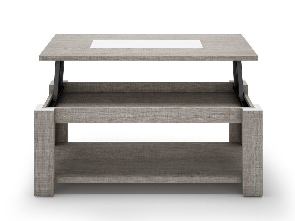 Mesa blanca de sal n centro mesa elevable de centro para for Mesas de salon blancas