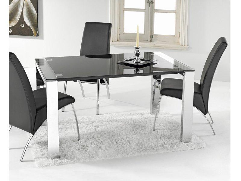 Mesa extensible negra comprar mesa de color negro para for Mesa comedor blanca extensible