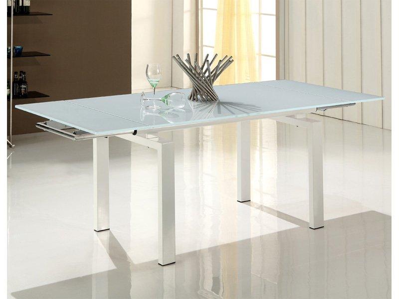 Mesa blanca moderna para comedor, encimera de cristal extensible