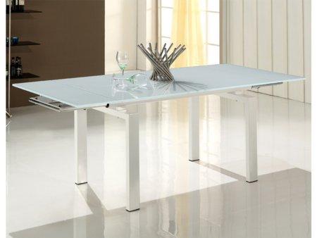 Mesa blanca moderna para comedor encimera de cristal for Mesa cristal moderna