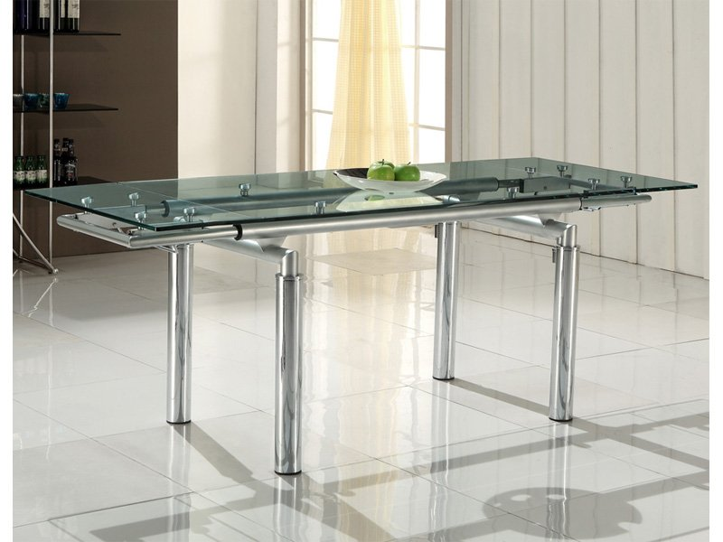 Mesa extensible transparente con cristal 12 mm y patas for Sillas transparentes para cocina