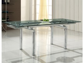 Mesa extensible de cristal transparente