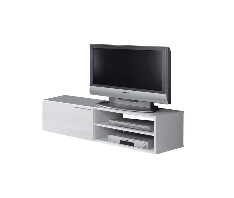 Mueble auxiliar de tv color blanco con cajones y leja en oferta - Mueble tv blanco ...