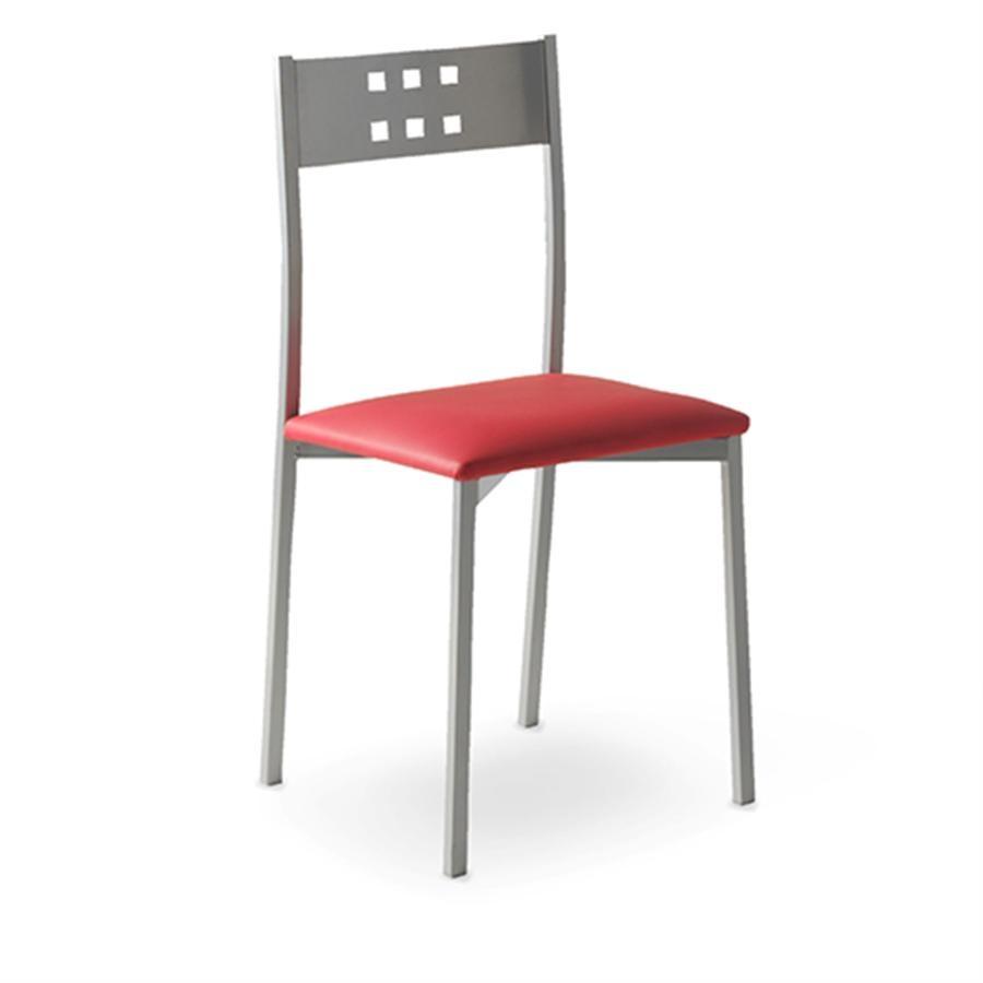 silla de cocina met lica con cuadrados troquelados en el