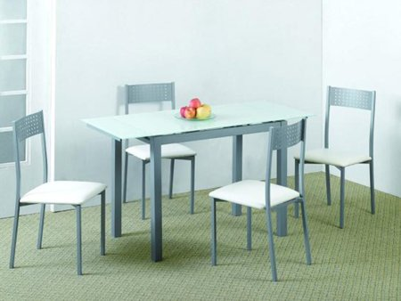 Pack de mesa extensible y sillas cristal templado negro o - Mesa escritorio extensible ...