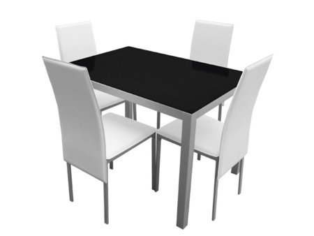 Mesa de cocina con sillas tapizadas en polipiel blanca o negra for Sillas cocina negras