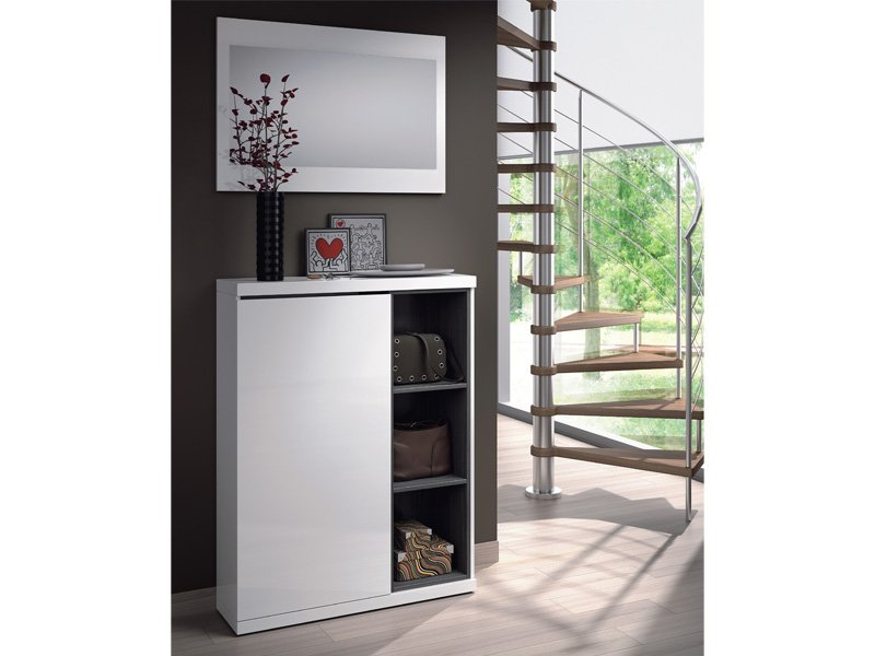 Mueble recibidor de zapatero con espejo en color blanco y gris for Zapatero entrada espejo