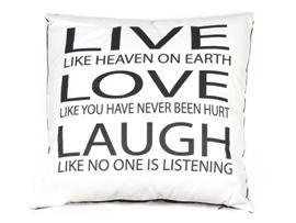 Cojin live love blanco 45x45 cm