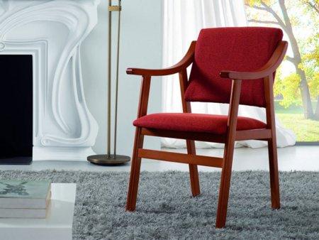 Sill n tapizado en cerezo para sal n pr ctico mueble auxiliar - Sillones pequenos para salon ...