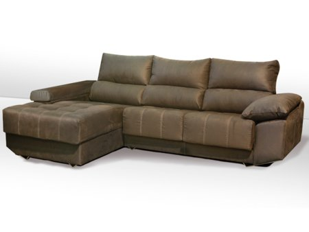 Sof chaise longue con patas met licas inclinadas de dise o for Sofas de piel con chaise longue