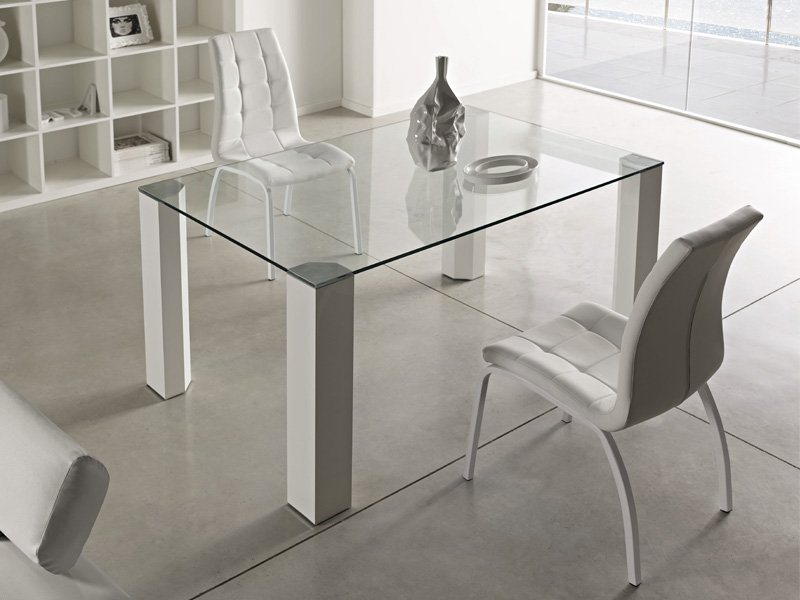 Mesa para comedor en cristal transparente 14mm patas de for Mesas de cristal y madera para comedor