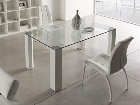 Mesa para comedor en cristal transparente 14mm patas de for Mesas comedor extensibles cristal transparente