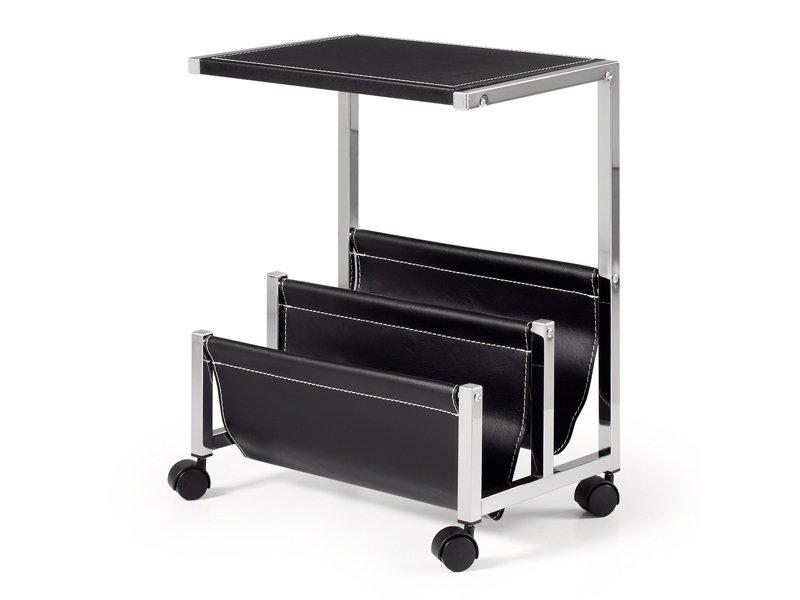 Mesa para revistas negra auxiliar de sal n pvc con cuatro - Mesa auxiliar con ruedas ...