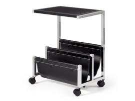 Mesa para revistas negra - 4 ruedas
