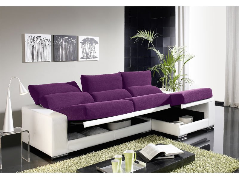 Sof chaise longue abatible chaise longue reclinable con for Sofas 3 plazas mas cheslong