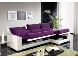 Sofá chaise-longue abatible con arcón