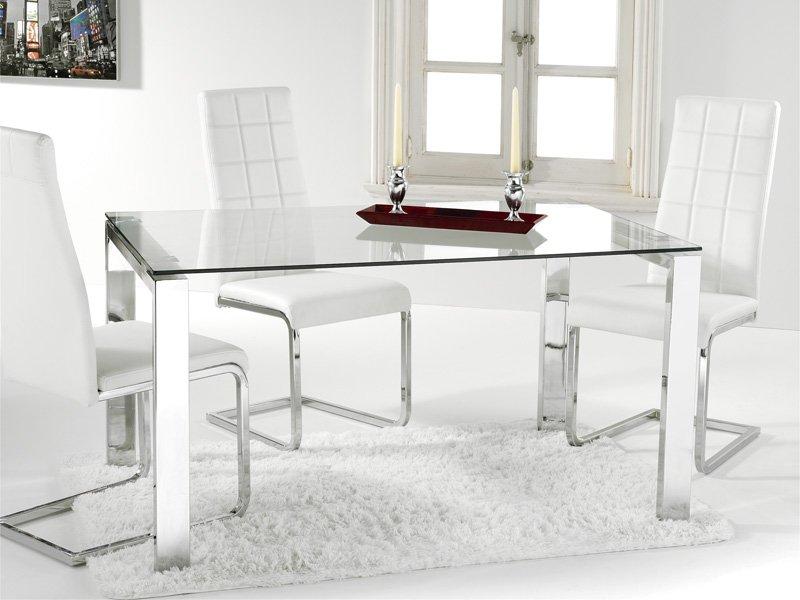 Mesa de cristal de 8 mm y estructura cromada en blanco o negro - Mesa estudio cristal ...