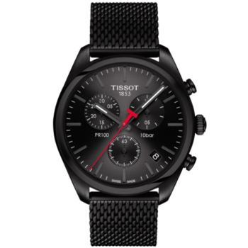 watches tissot stainless black watch chronograph steel couturier lrg tosset quartz