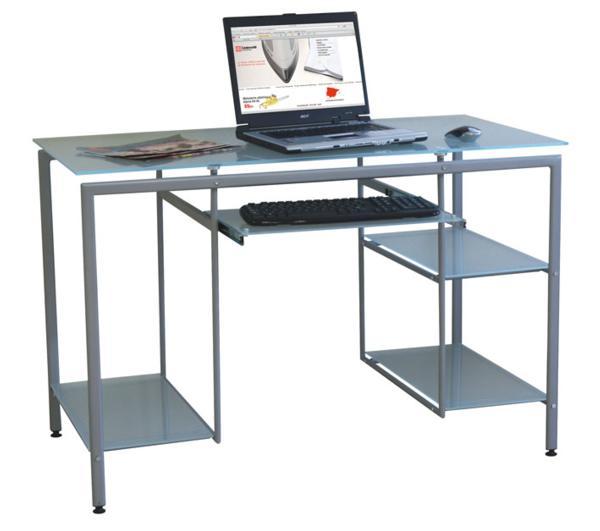 Mesa escritorio cristal con estantes for Mesa cristal oficina