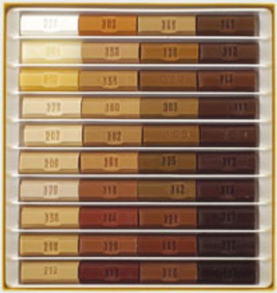 Caja 10 ceras blandas 8cm colores madera - Pintura para madera colores ...