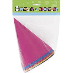 Pack 8 gorros cartón cumpleaños colores surtidos