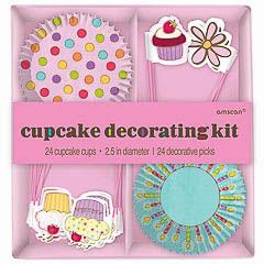 Pack decoración cupcakes 48 piezas cápsulas + pinchos