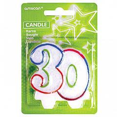Vela cumpleaños 30 años colores