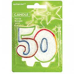 Vela cumpleaños 50 años colores
