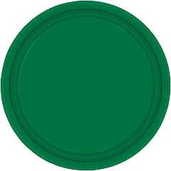 Platos Verdes lisos 22,90 cm, Pack 8 u.