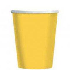 Vasos Amarillos cartón encerado 266 ml, Pack 8 u.